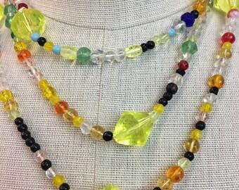 Vintage CZECH Mardi Gras Glass Beaded Necklace / 1930s 1940s Czechoslovakia Glass Beads