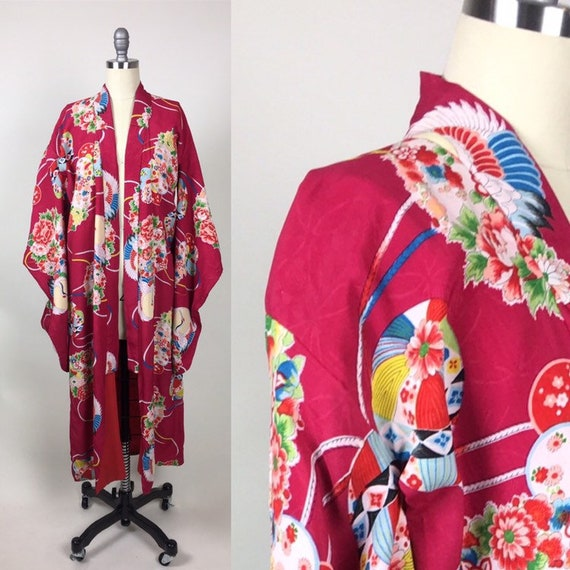 vintage 1940s Silk Crepe Kimono / vintage 40s Japa