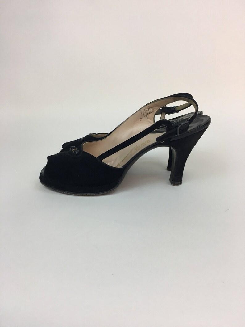 vintage 1940s Shoes  vintage 40s Black Platform Peep Toe Palter De Iso Shoes  size 7.5