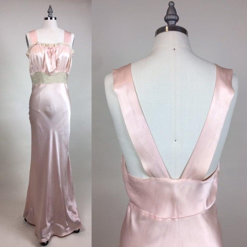 e6fec81d9ed1 Vintage 1930s Rayon Satin Slip Gown Dress / vintage 30s | Etsy