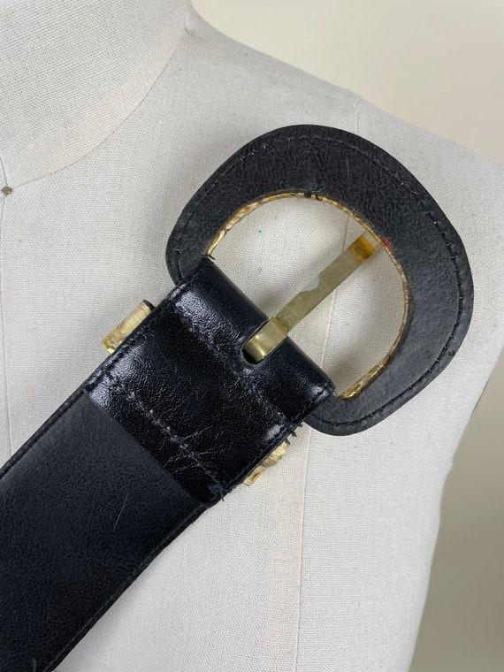 Vintage 1980s Wide Black Gold Snakeskin Dress Bel… - image 8