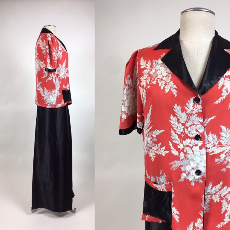 vintage 1940s Rayon Loungewear Set  vintage Rayon Floral Pajama Palazzo Pant Lounge Set