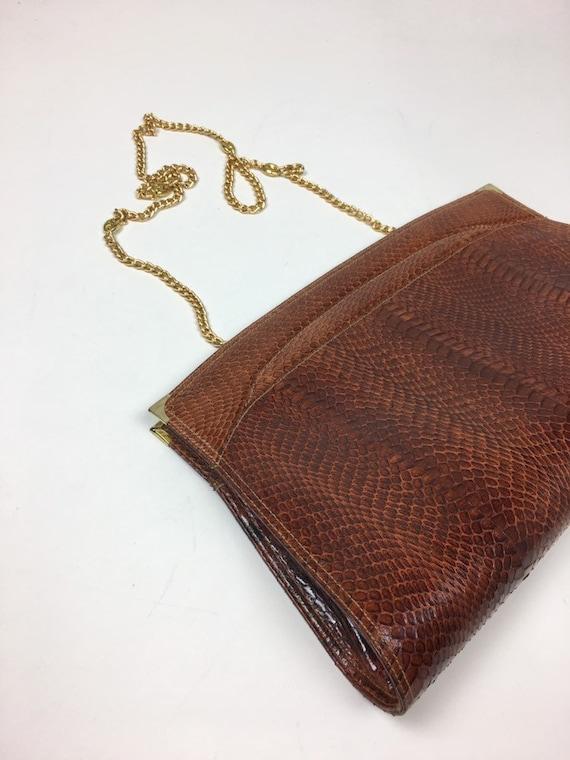 Vintage 70/'s vinyl boho envelope three compartment hippy chain shoulder handbag