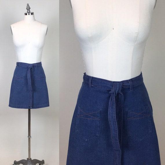 vintage 1970s Denim Jean Wrap Short Skirt / vintag