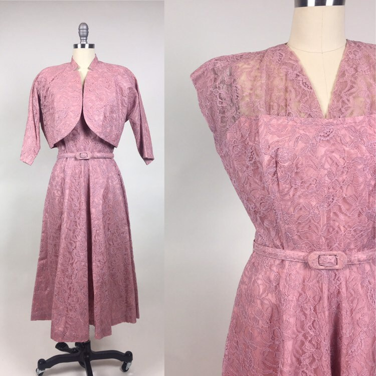 1950s Hats: Pillbox, Fascinator, Wedding, Sun Hats Vintage 1950S Pink Lace Bolero Party Dress Set $0.00 AT vintagedancer.com