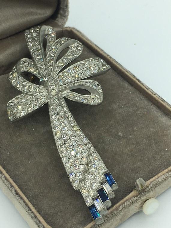 Vintage 1920s Art Deco Rhinestone Bow Pin Brooch … - image 2