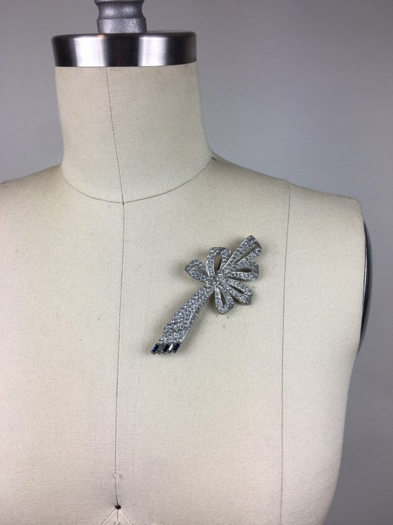 Vintage 1920s Art Deco Rhinestone Bow Pin Brooch … - image 3