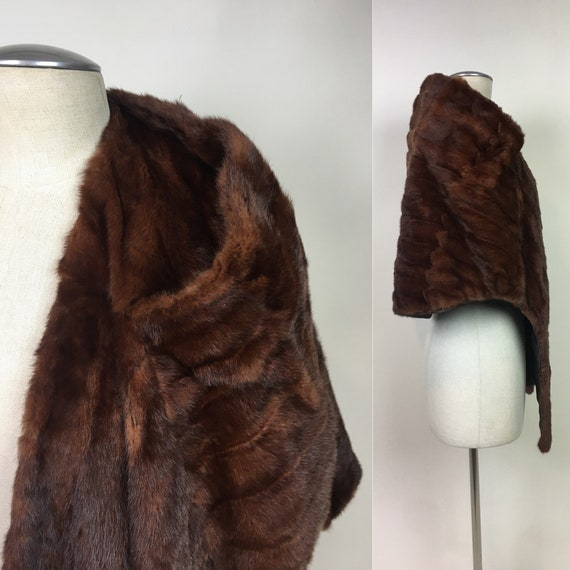 Vintage 1950s Mink Shawl Wrap Coat / vintage 50s S
