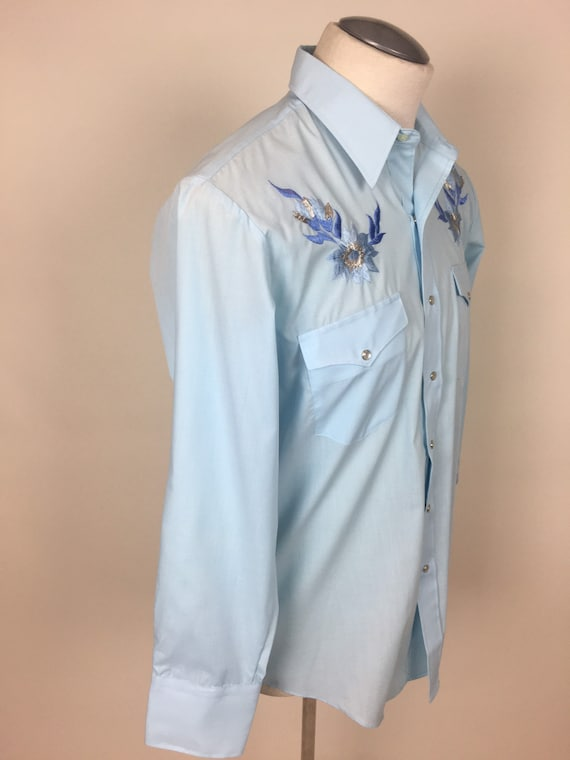vintage 1970s Baby Blue Embroidered Cowboy Wester… - image 7