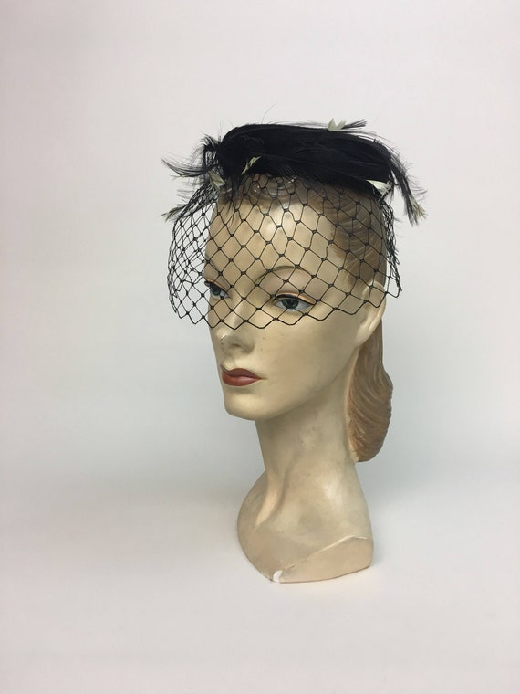 vintage Black Velvet Feather Pillbox Hat  / Vintag