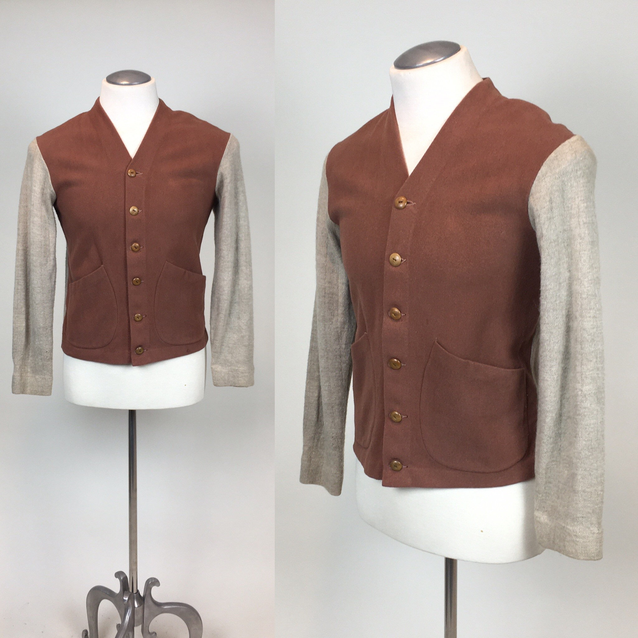 New 1930s Mens Fashion Ties Vintage 1930S 1940S Mens Mcgregor Sportswear Cardigan SweaterTwo Tone Wool Felt Knit $0.00 AT vintagedancer.com