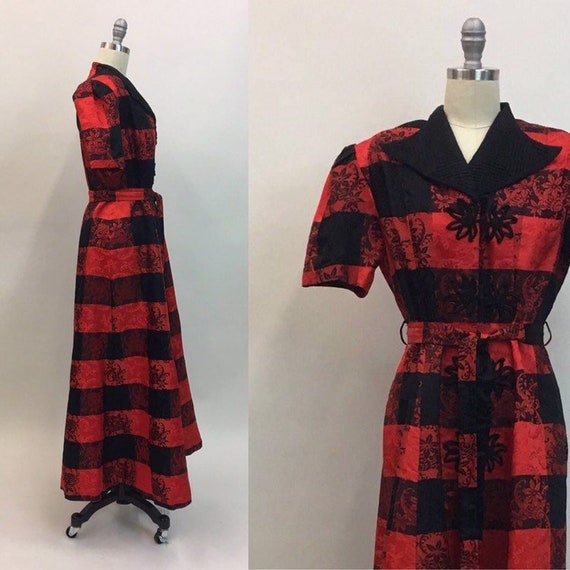 vintage 1940s Red Black Brocade Plaid Maxi Long Co