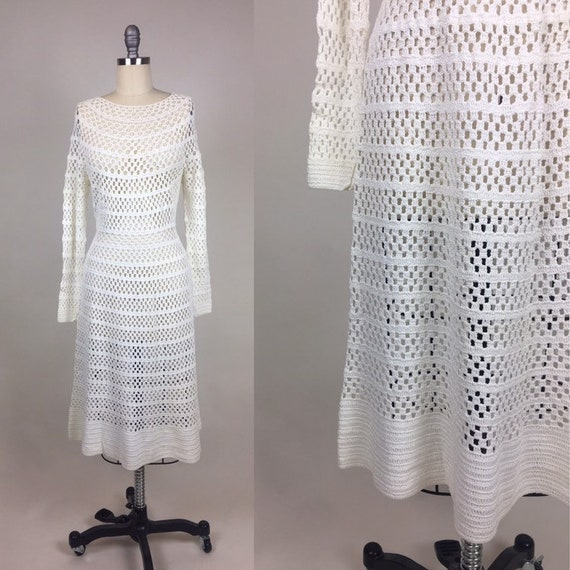 vintage 1970s Crochet White Dress / Vintage 1970s