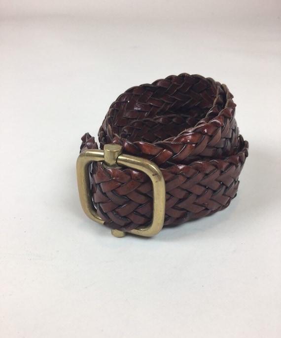 vintage 1980s Braided Leather Belt / vintage 1980s