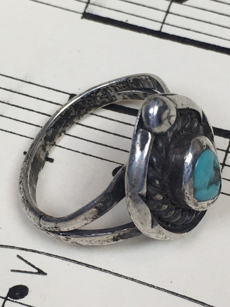 Vintage 1950s Navajo TURQUOISE Sterling Ring  Vintage Native American Turquoise Hand Stamped Ring  size 5 12