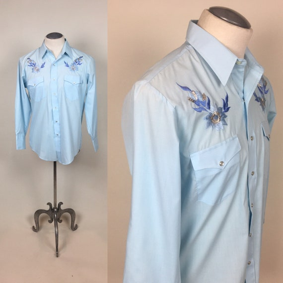 vintage 1970s Baby Blue Embroidered Cowboy Wester… - image 3
