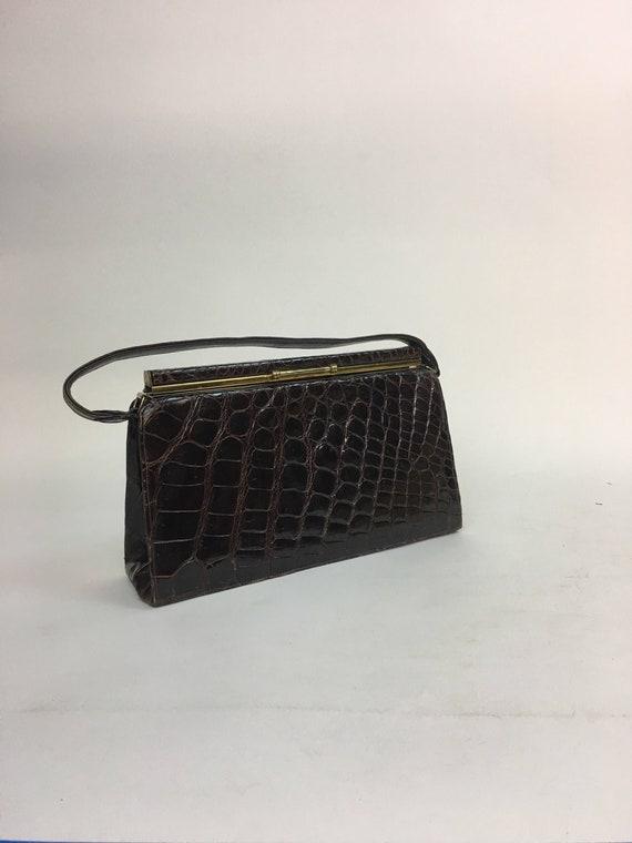 vintage 1950s Brown Top Handled Handbag Purse / v… - image 1
