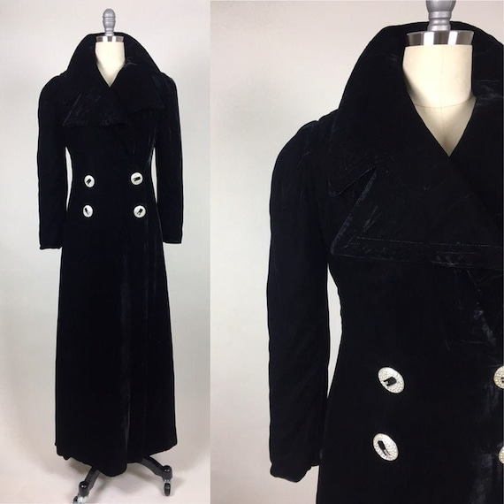 Vintage 1930s Velvet Doubled Breasted Maxi Coat /
