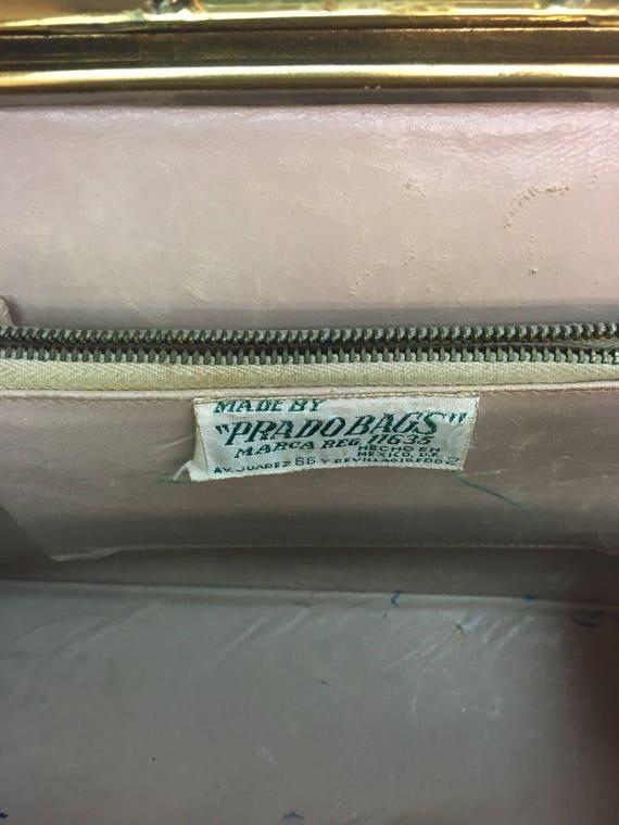 vintage 1950s Brown Top Handled Handbag Purse / v… - image 8