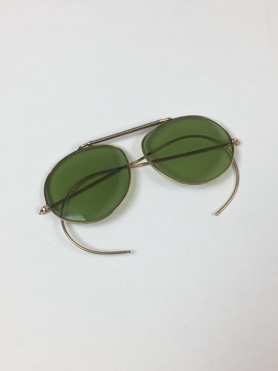vintage 1940s Green Aviator Sunglasses / vintage 1