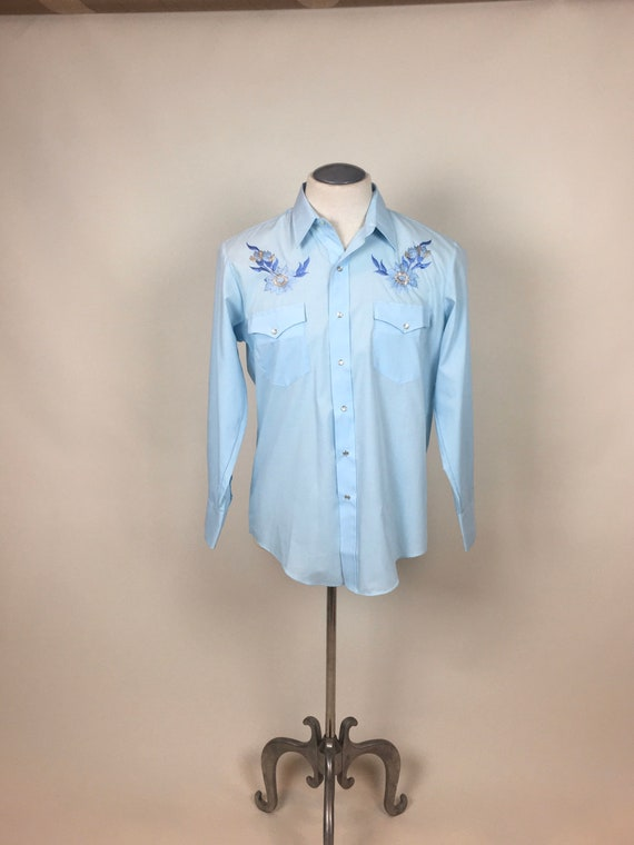 vintage 1970s Baby Blue Embroidered Cowboy Wester… - image 6