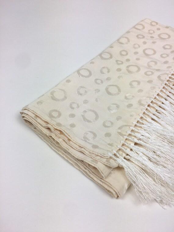 vintage 1940s Ascot Scarf / vintage 40s White Silk