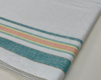 Vintage 1940s Striped Linen Toweling / Vintage 40s Mint Green Yellow Tea Towel Fabric Yardage
