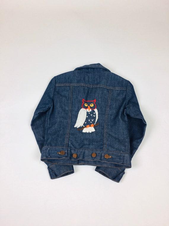Vintage 1970s Wrangler Embroidered Owl Denim Child