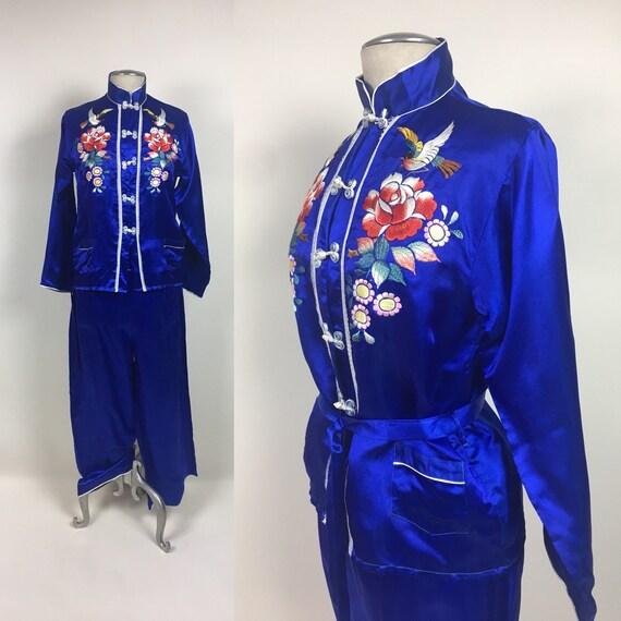 vintage Chinese Silk Pajama Loungewear Set / vinta