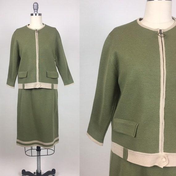 vintage 1960s Wool Knit Dress Set / Vintage 60s It