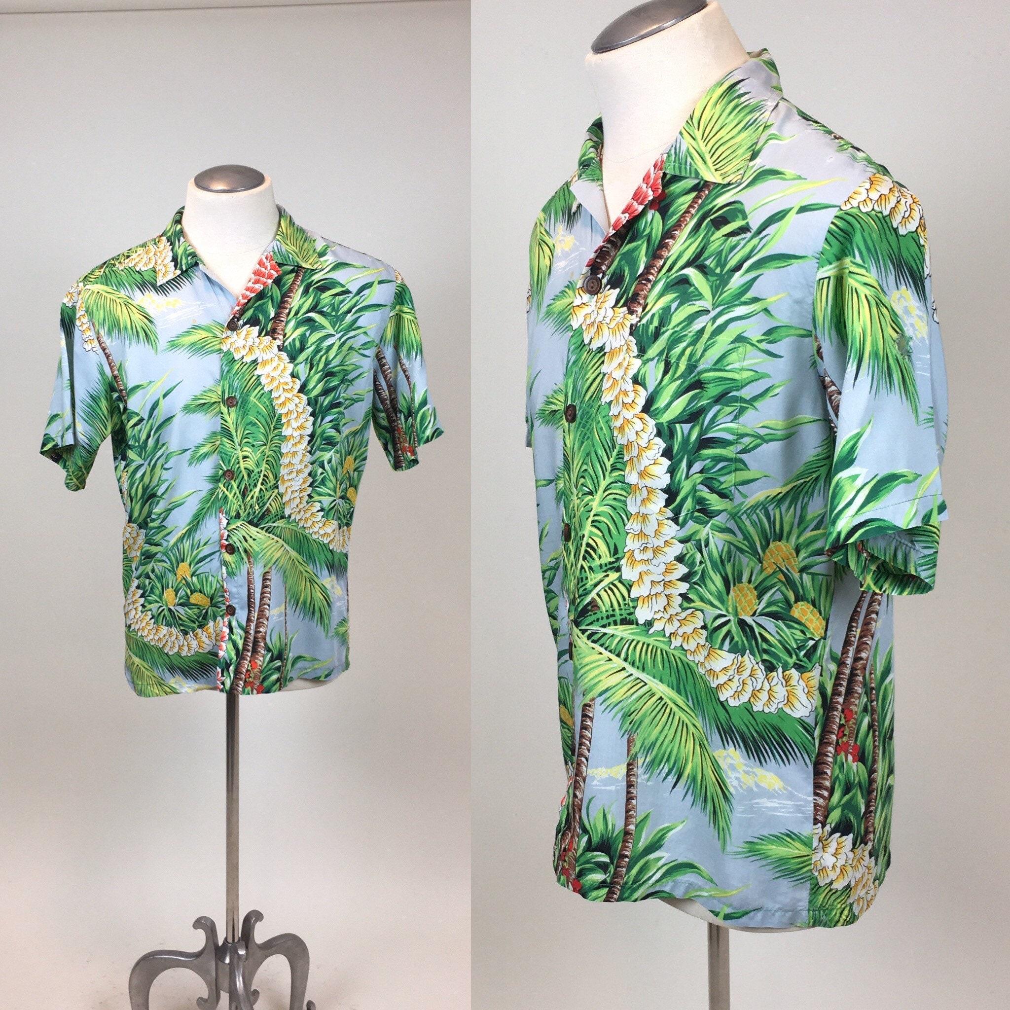 1940s Men's Shirts, Sweaters, Vests Vintage 1960S Rayon Hawaiian Mens ShirtSize 46 $0.00 AT vintagedancer.com