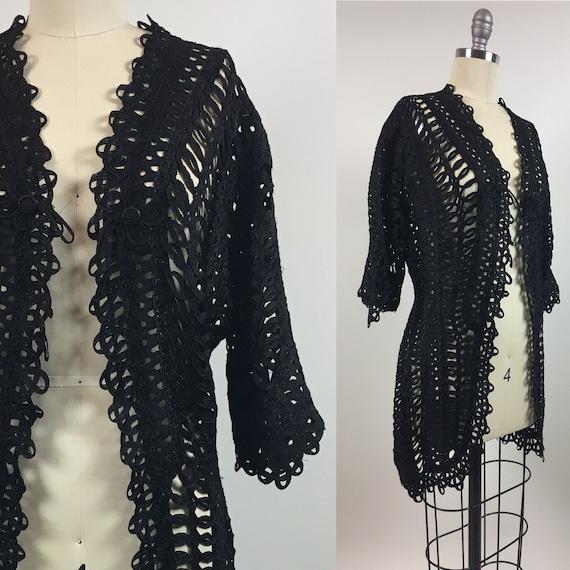 vintage Edwardian Black Lace Ribbon Jacket / Antiq
