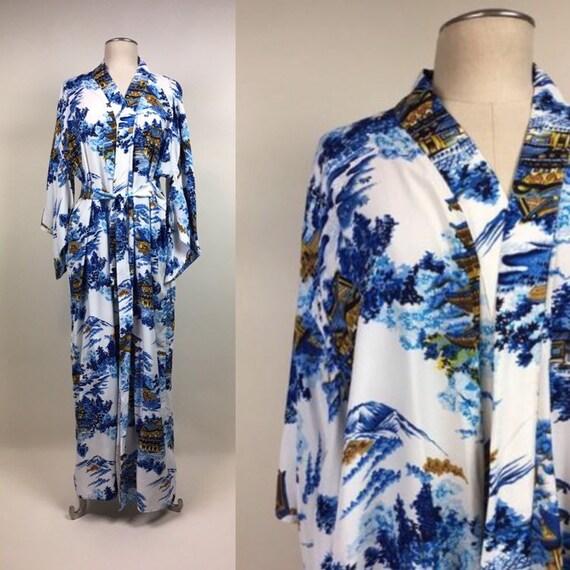 vintage 1950s Chinoiserie Print Kimono Robe / vint