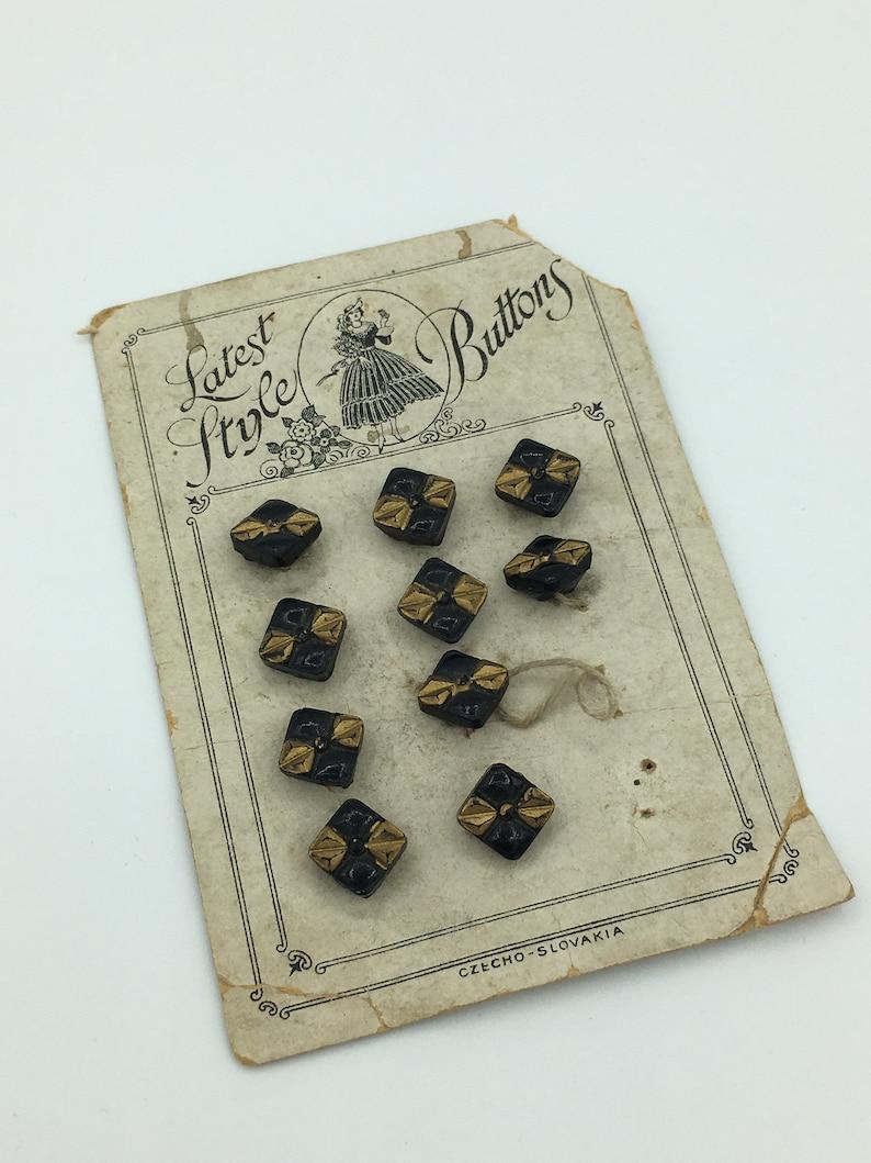 10 Vintage 1930s Small Czech Black Gold Glass Buttons  Vintage 30s Small Doll Blouse Buttons  14