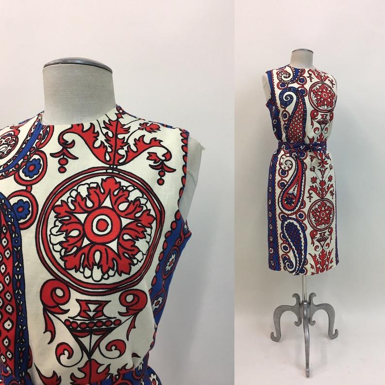 7da909a5d9d1 Vintage 60s Linen Shift Dress / vintage 1960s Sleeveless | Etsy