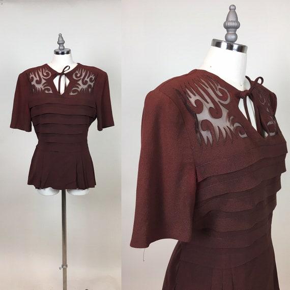 Rare vintage 1930s Brown Rayon Crepe Women's Blous