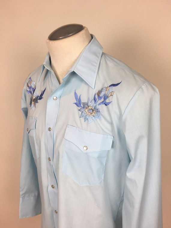 vintage 1970s Baby Blue Embroidered Cowboy Wester… - image 5