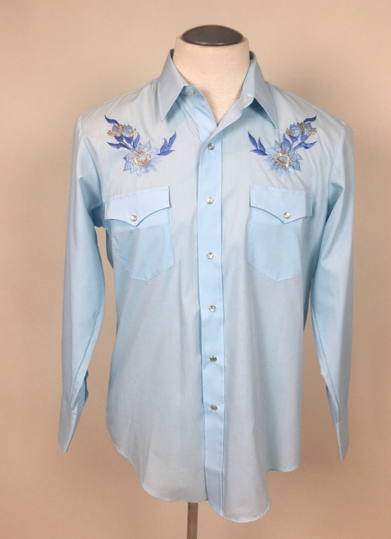 vintage 1970s Baby Blue Embroidered Cowboy Wester… - image 2