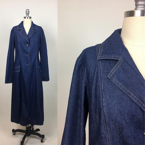 vintage Denim Duster Maxi Coat Jacket  / vintage D