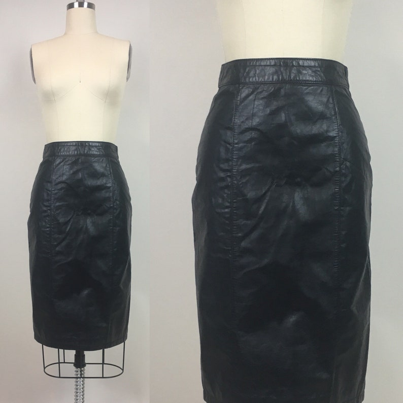 ac52ae9de Vintage 80s Leather Midi Pencil Skirt / vintage 1980s Black | Etsy
