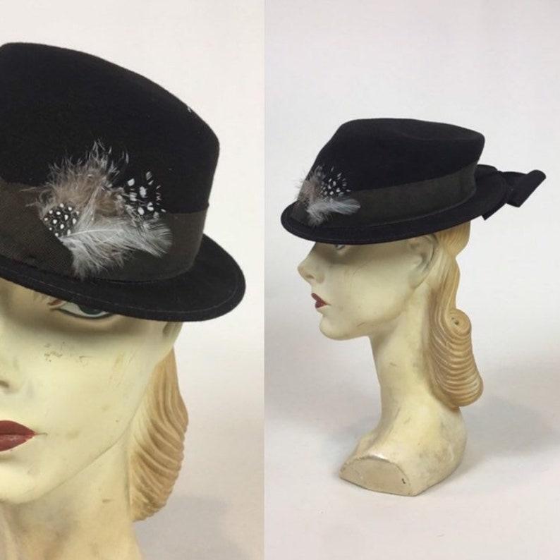 cd25c506d vintage 30s 40s Women's Fedora Hat / vintage 1930s 1940s Ladies Men's Style  Hat
