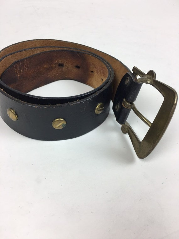 vintage 1970s Leather Riveted Wide Belt vintage 1970s Wide Leather Punk Motorcycle Biker Studded Belt