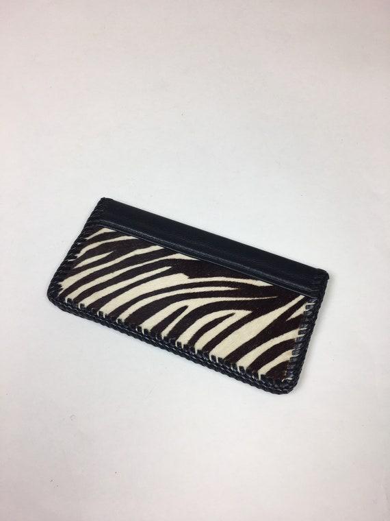 Vintage 1950s Zebra Stripe Pony Clutch Wallet / Vi