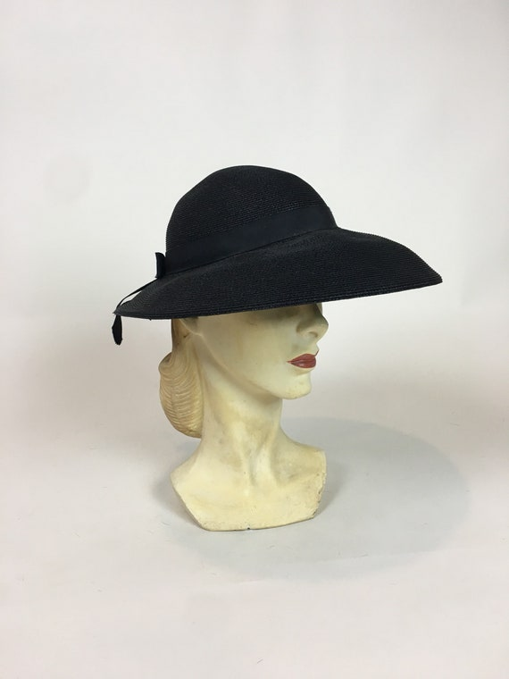 1940s Wide Brim Black Straw HAT   Vintage 40s Black Betmar Hat  2a2e2d83ce7
