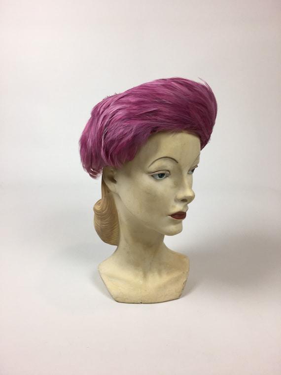 vintage 1950s Pink Feather Hat / vintage 50s Pink… - image 7