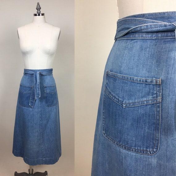 Vintage 1970s Denim Jean Wrap Skirt / Vintage 70s