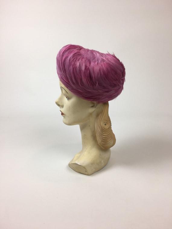 vintage 1950s Pink Feather Hat / vintage 50s Pink… - image 3