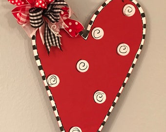 Set 5 Symmetric pieces 16 cm long Large Hearts Wooden Shapes Hanging Hearts