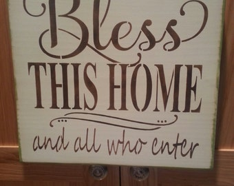 BLESS THIS HOME/ Home & Living/Painted Wood/ Sign/ New Home Gift/12 x 12/Marias Makery etc