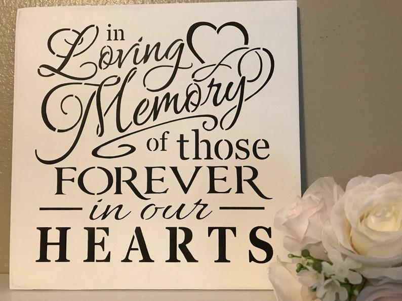 In loving memory  wood sign  wedding prop  12 x12  Marias Makery etc